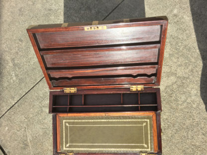Garden Court Antiques, San Francisco - A Very Large Anglo-Indian Campaign Style Solid Rosewood Writing Box with Brass Accents, Circa 1850