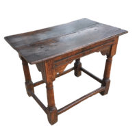 Garden Court Antiques, San Francisco - An 18th century English Oak side table with carved apron and box stretchers, column legs, lovely patinacirca 1720