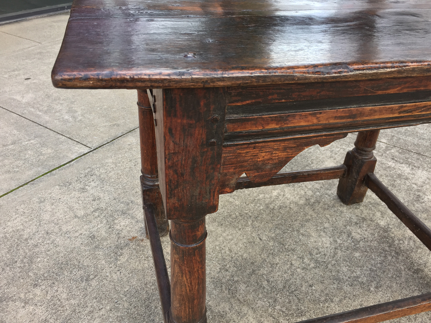 Antique English Side Table -  garden court antiques san francisco an 18th century english oak side table with carved