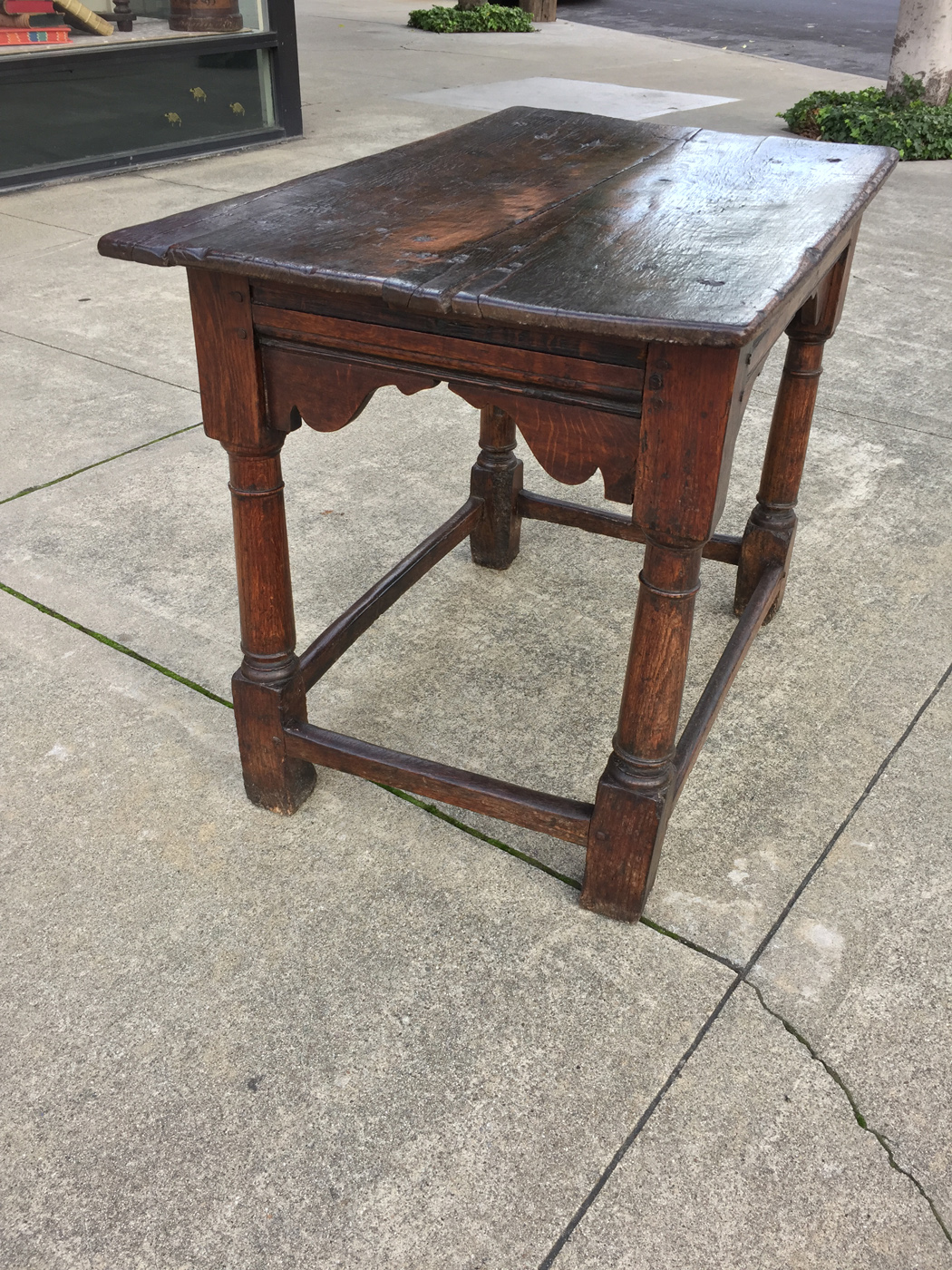 Garden Court Antiques, San Francisco   An 18th Century English Oak Side  Table With Carved