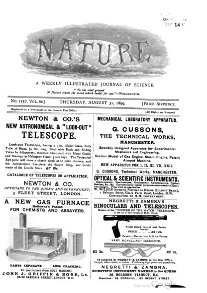 Nature Magazine, August 1899, Adverstisement,newton telescope pg-782-768