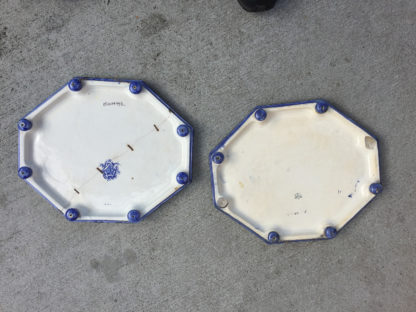 Garden Court Antiques, San Francisco Pair of Blue and White Porcelain Octagonal Footed Trays, English, circa 1880