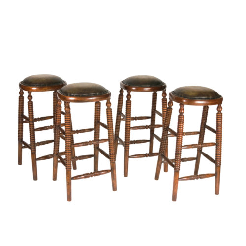 Handsome Collection of Bobbin Turned Fruitwood and Leather Edwardian Period Bar Stools, English circa 1900