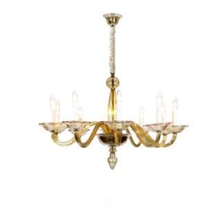 Garden Court Antiques, San Francisco Elegant Murano Blown Amber Glass 10-light Chandelier, Italy circa 1950