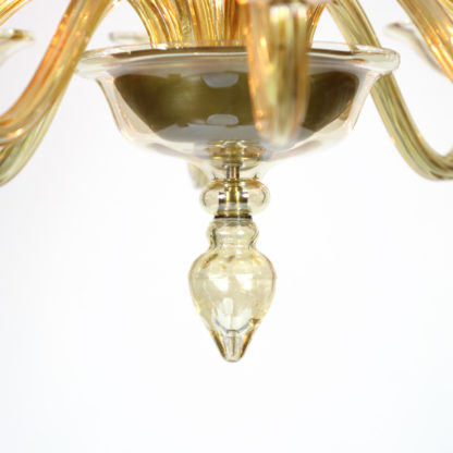 Garden Court Antiques, San Francisco Detail: Pendant of an Elegant Murano Blown Amber Glass 10-light Chandelier, Italy circa 1950