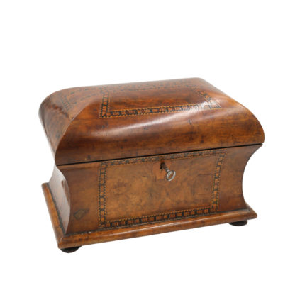 Garden Court Antiques, San Francisco Quality Fully-Fitted Walnut Tea Caddy, English Circa 1840-1850