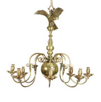 "Garden Court Antiques, San Francisco - Handsome late 18th/ early 19th century eight branch brass chandelier with sand cast candle cups and drip pans, surmounted by  a hooded bird of prey with outspread wings, English circa 1800; 39""Dia x 38""Drop"
