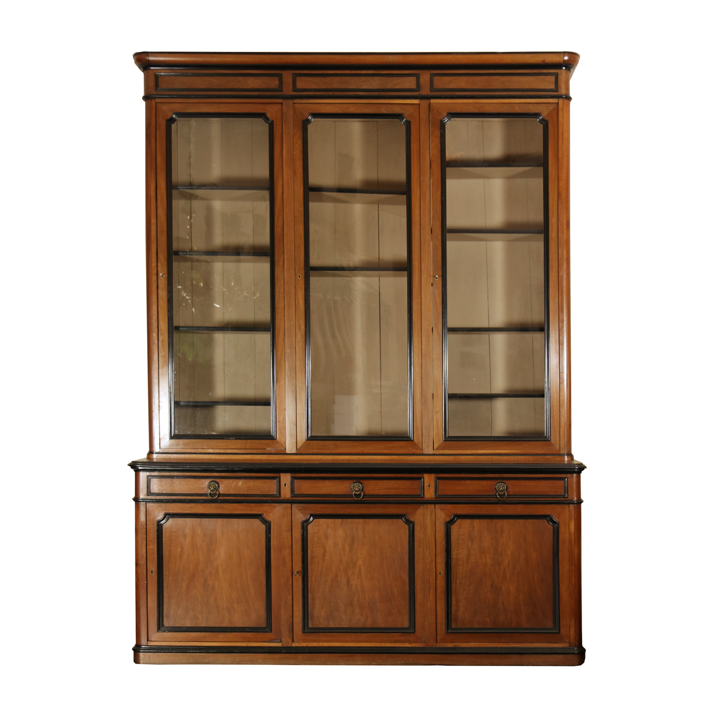 very large french walnut bureau bookcase webonized trim original glazing circa 1860 garden. Black Bedroom Furniture Sets. Home Design Ideas