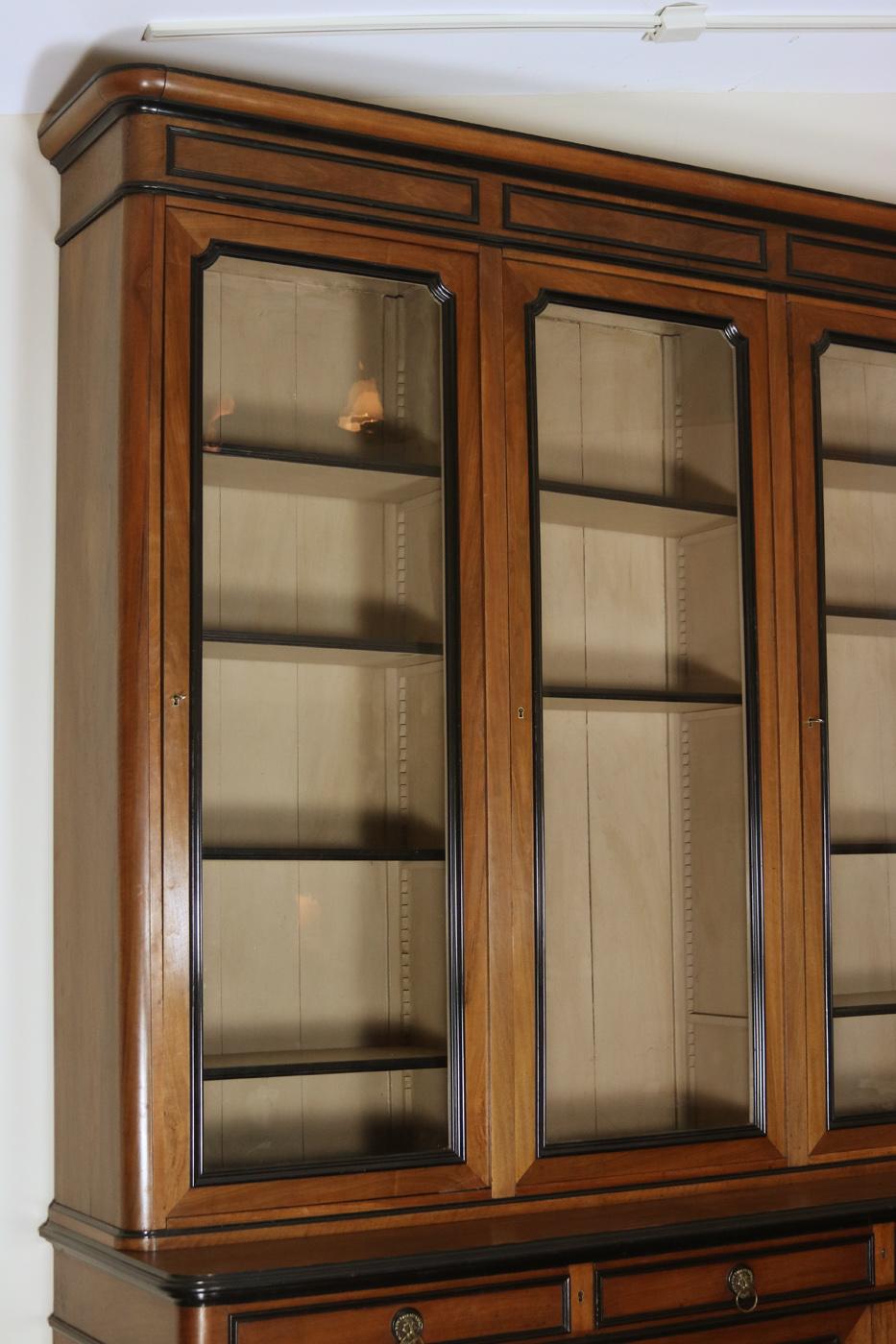 Garden Court Antiques San Francisco An Impressive French Walnut Bureau Bookcase With Ebonized Trim