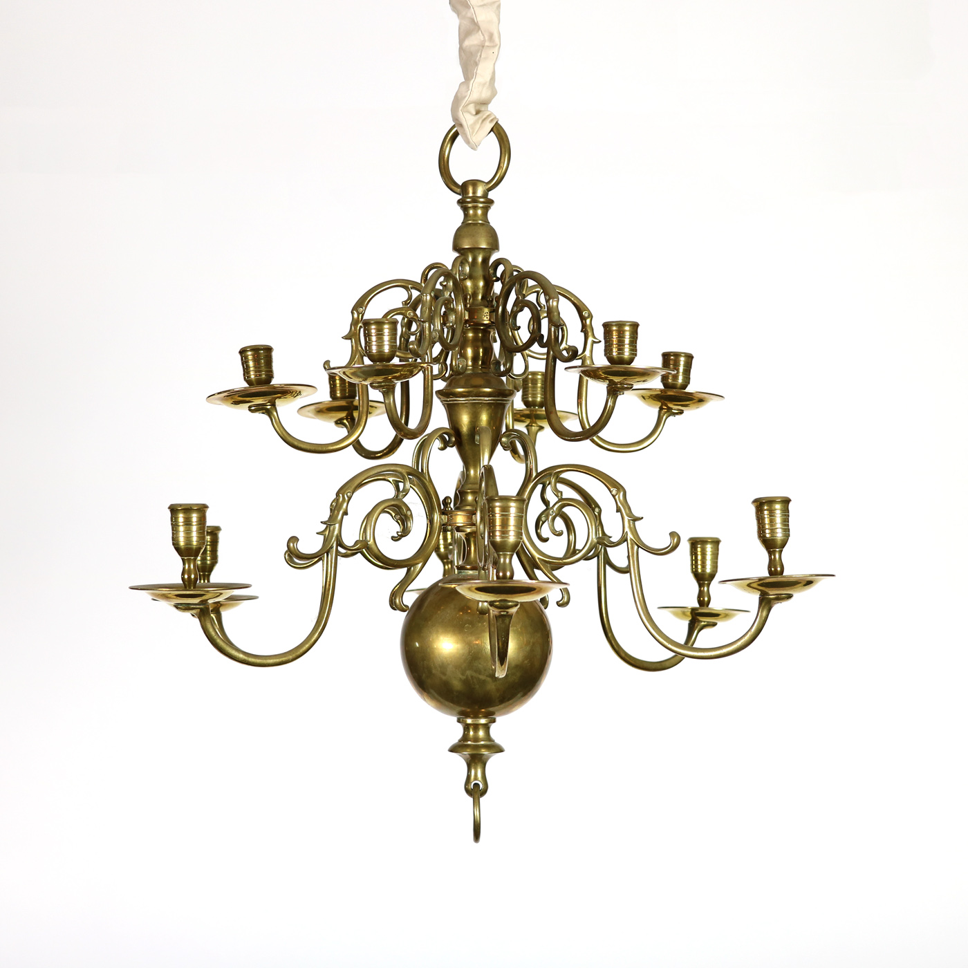 Two tiered twelve light dutch brass chandelier 19th century garden court antiques small scale 12 light dutch brass chandelier holland circa 1880 aloadofball Images