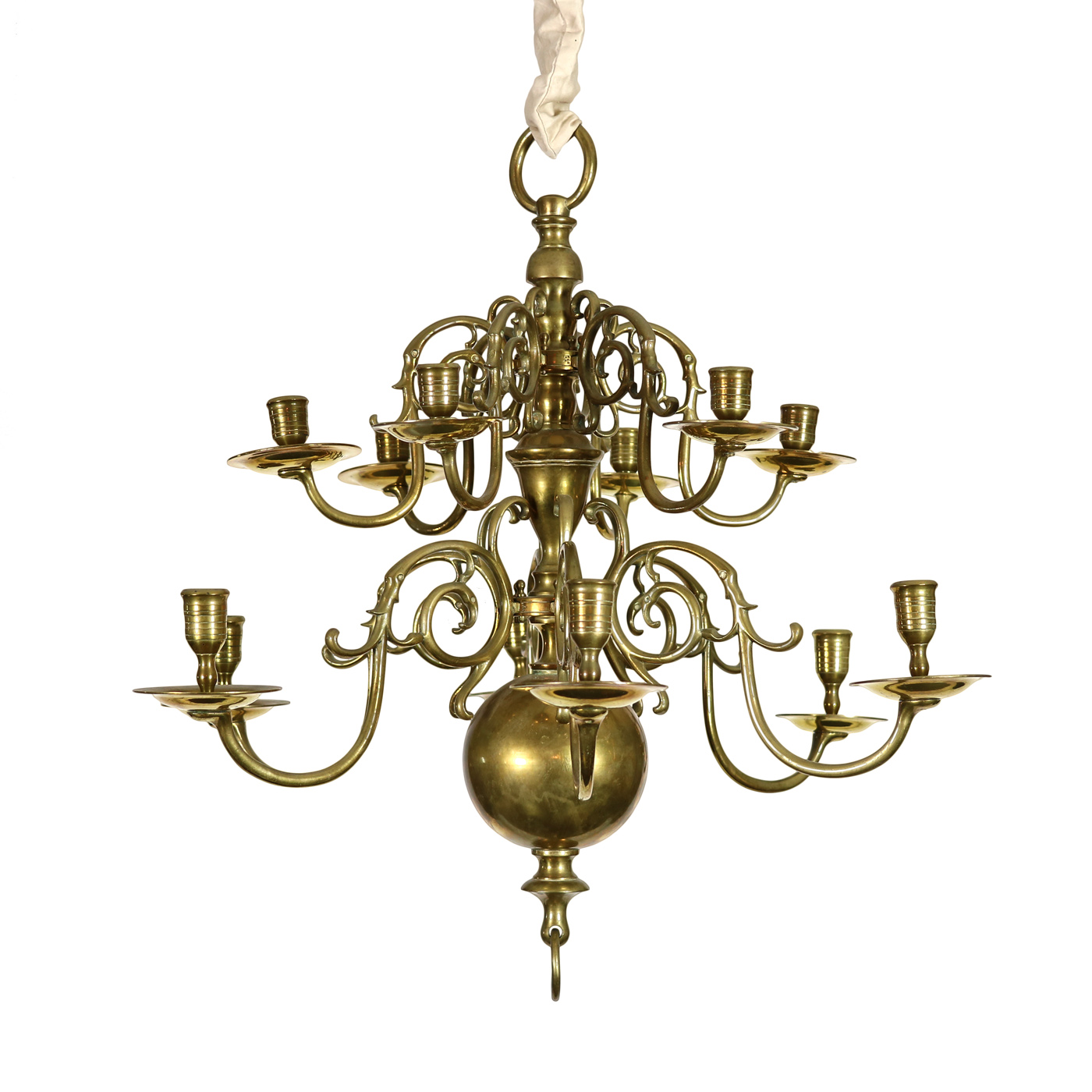 Two Tiered Twelve Light Dutch Brass Chandelier 19th Century