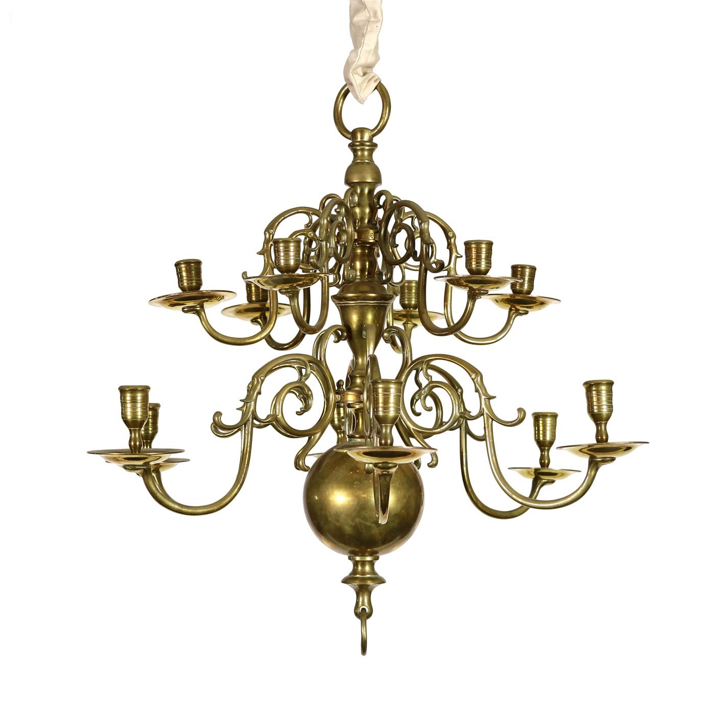 Two-tiered Twelve-light Dutch Brass Chandelier 19th Century