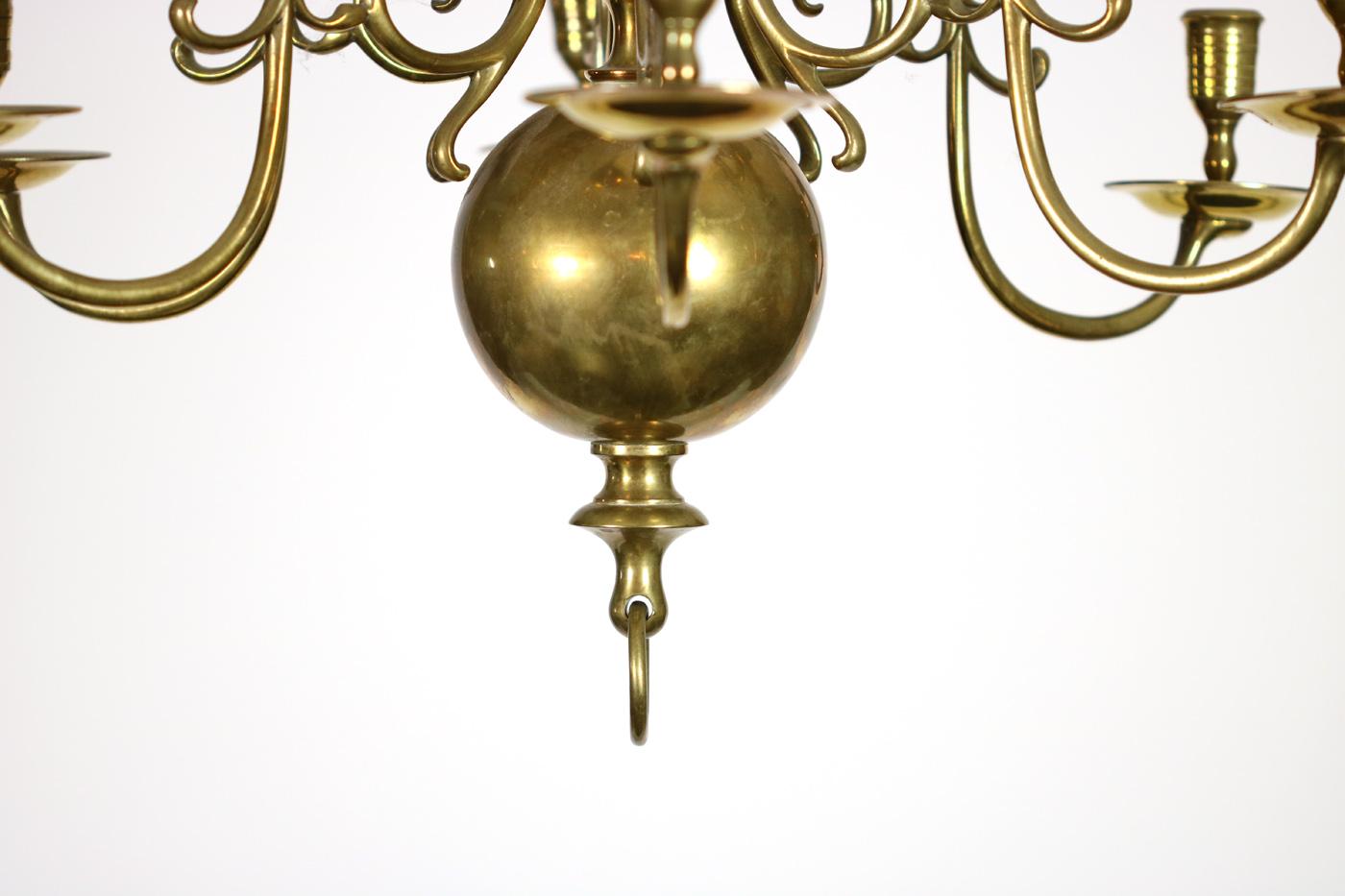 Two Tiered Twelve Light Dutch Brass Chandelier 19th Century