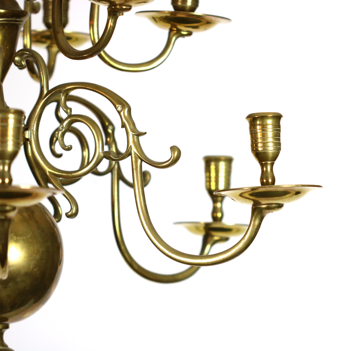 Garden Court Antiques, Small scale 12 light Dutch Brass chandelier, Holland  circa 1880 - Two-tiered Twelve-light Dutch Brass Chandelier 19th Century