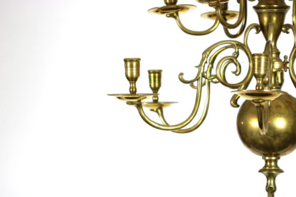 Garden Court Antiques, Small scale 12 light Dutch Brass chandelier, Holland circa 1880