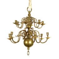 12-Light Dutch Brass chandelier, Holland circa 1880