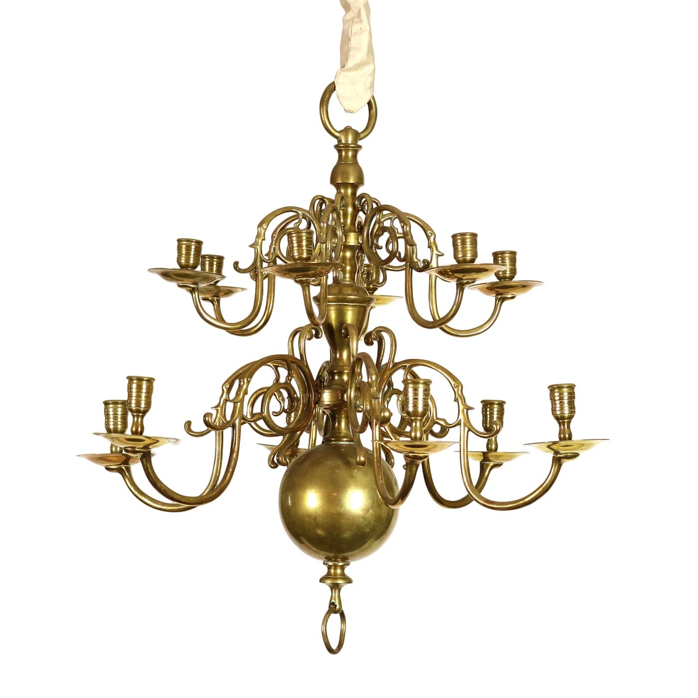 Small Scale 2-Tier, 12-Light Dutch Brass Chandelier Circa