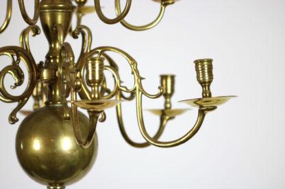 Garden Court Antiques, San Francisco Small Scale Twelve Light Dutch Brass chandelier, Holland circa 1880