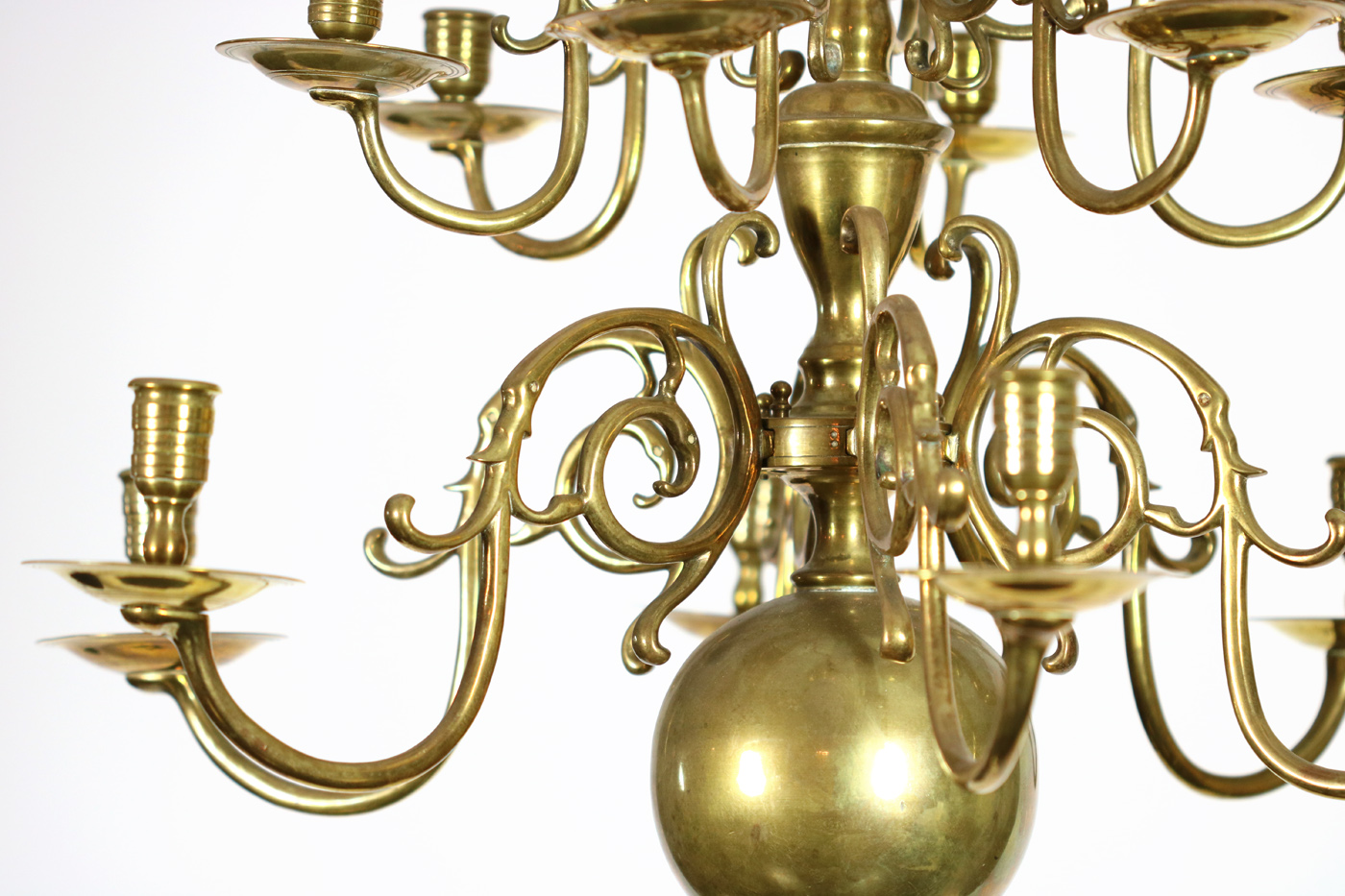 Small Scale 2 Tier 12 Light Dutch Brass Chandelier Circa 1880 Garden Court Antiques Sf
