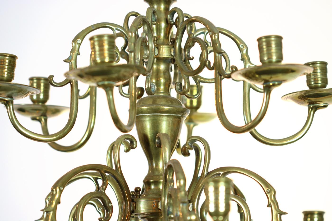 Garden Court Antiques San Francisco Small Scale Twelve Light Dutch Brass Chandelier Holland Circa