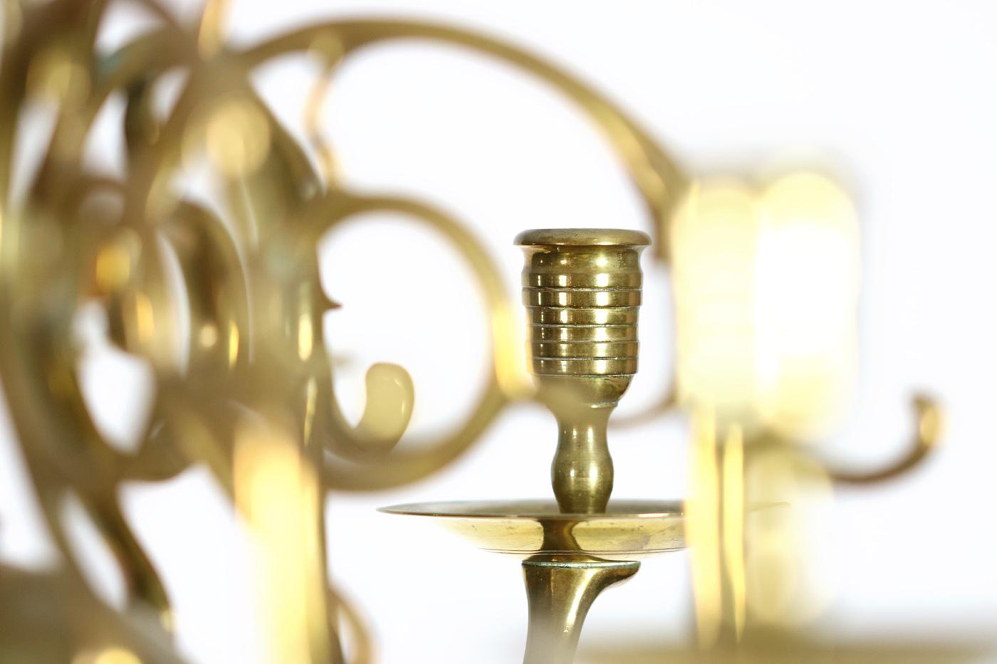 Small Scale 2 Tier 12 Light Dutch Brass Chandelier Circa