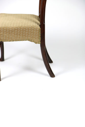 Garden Court Antiques, San Francisco 18th Century Walnut Dining Chair with Queen Anne Legs, English Cira 1740.