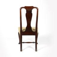 Garden Court Antiques, San Francisco 18th Century Walnut Dining Chair with Queen Anne Legs, English Cira 1740.