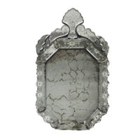 Garden Court Antiques, San Francisco Etched glass Venetian Mirror, Italy Circa 1870