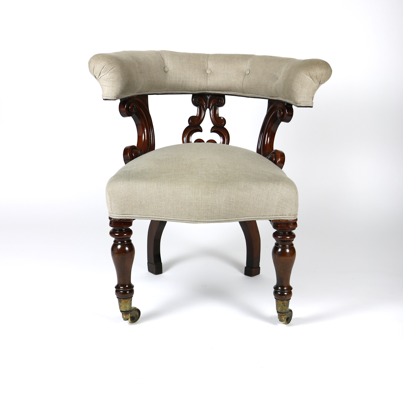 19th Century Carved Mahogany Library Chair English circa 1850