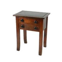Garden Court Antiques, San Francisco -An English Oak Side Table with Two Drawers and Later Black Black Leather Inset Top, Circa 1850