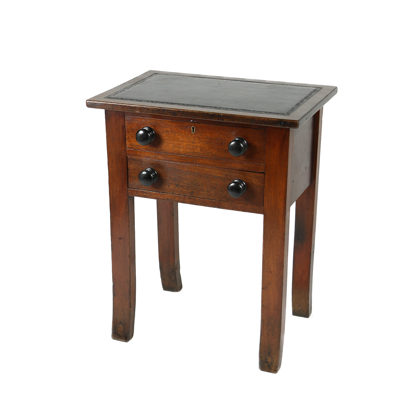 An English Oak Side Table with Two Drawers and Later Black Black