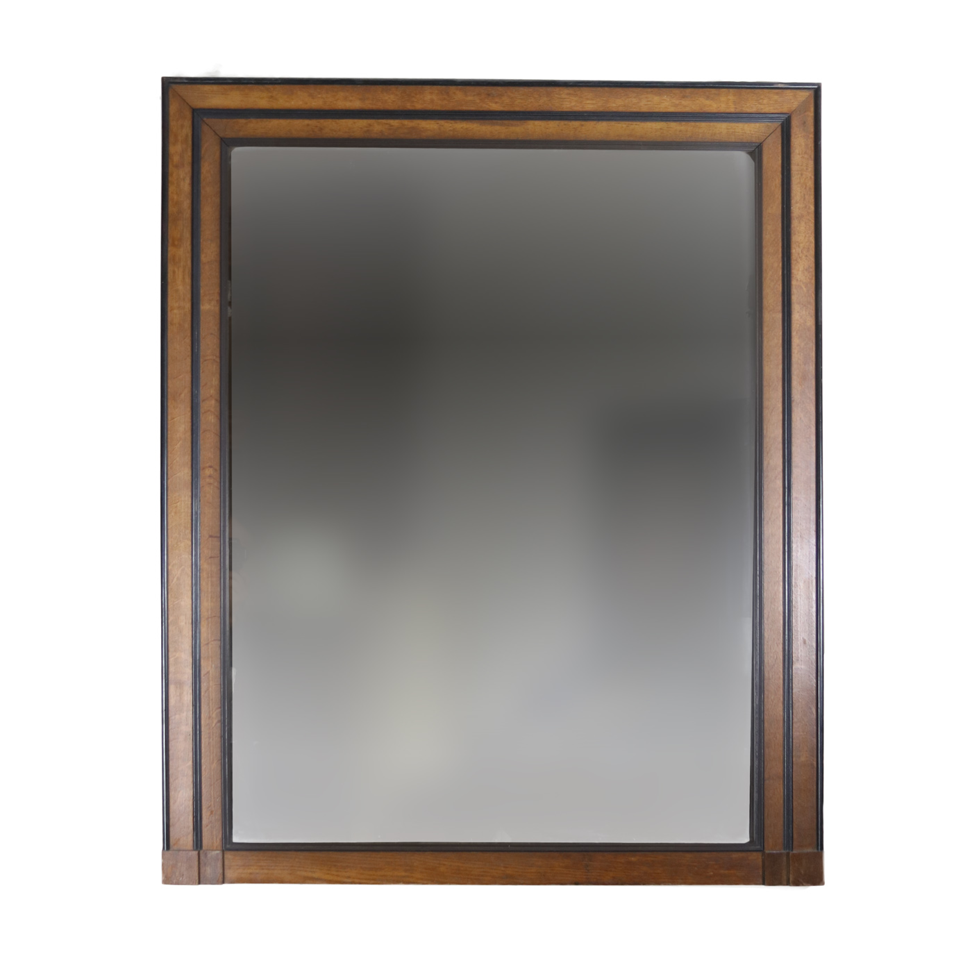 Handsome Large English Oak And Ebony Mirror Frame Circa 1840