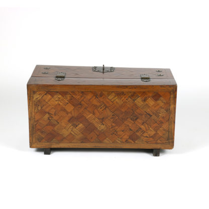 Garden Court Antiques, San Francisco Parquetry Box with Bronze Hinges, Handle and Lock, Circa 1800