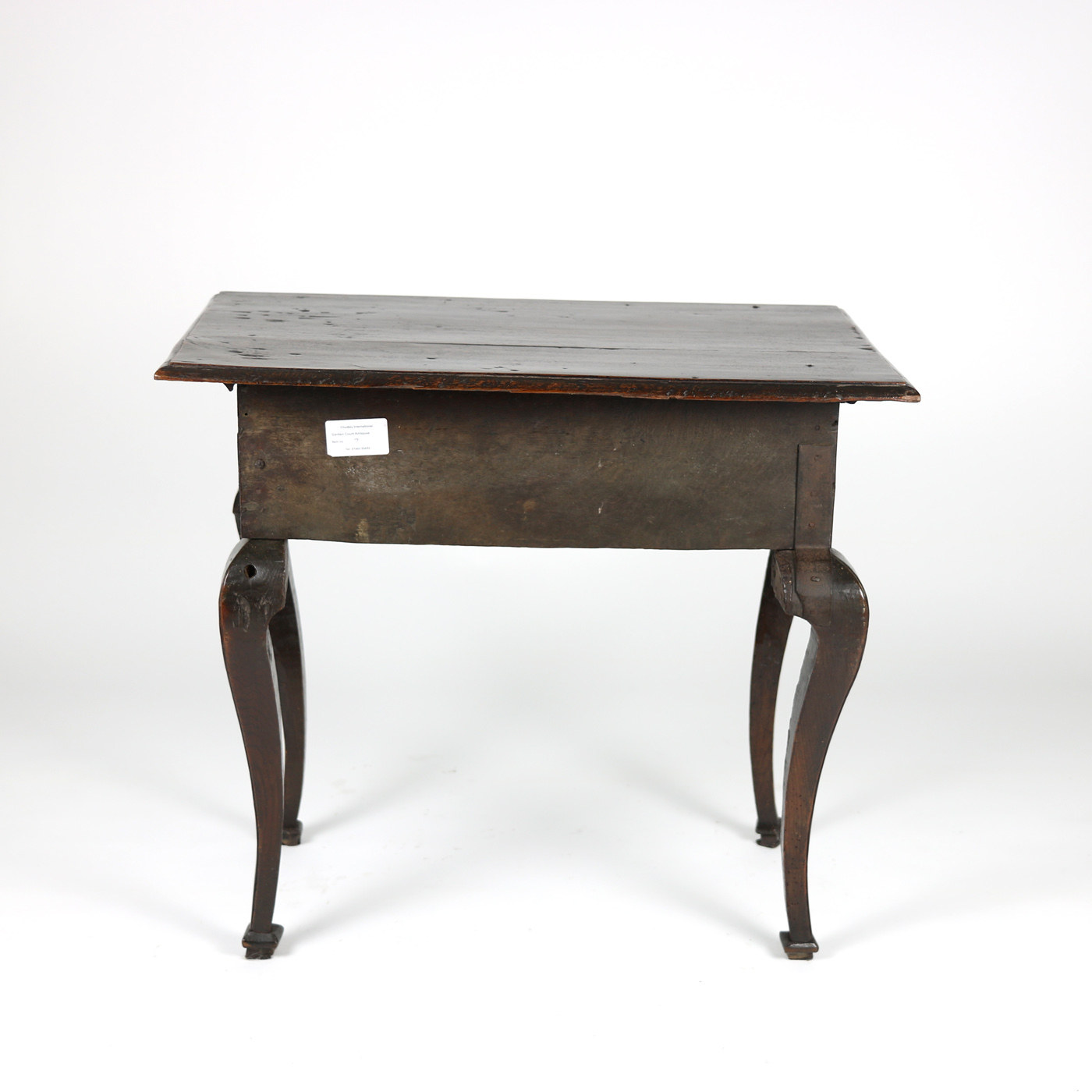 Queen Anne Oak Side Table with Arched Apron & Faux Drawers