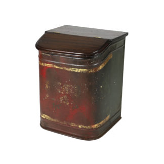 Garden Court Antiques, San FranciscoRed and Tole Tea Bin with Hinged Wooden Lid, English Circa 1870