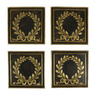 Garden Court Antiques, San Francisco Set of Four Bronze Plaques with Gilt Bronze Laurel Leaf Wreathes, French Circa 1880