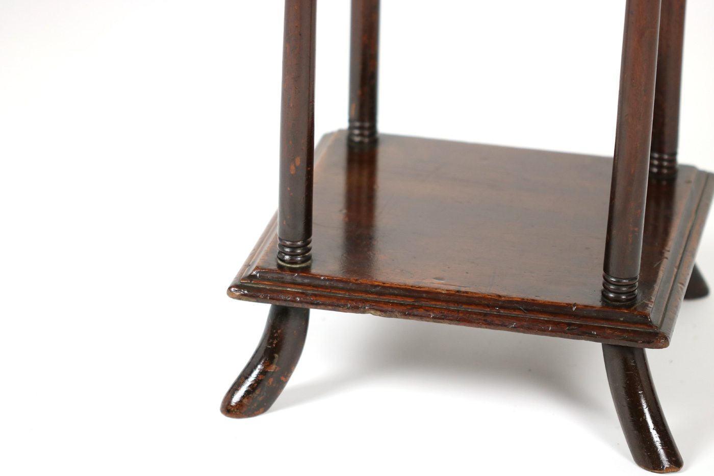 Antique square side table -  English Garden Court Antiques San Francisco A Three Tiered Mahogany Side Table