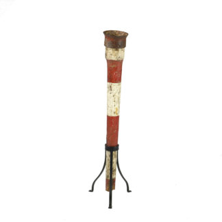 Garden Court Antiques, San Francisco Whimsical Painted coconut shy game piece on later iron tripod stand; English circa 1880