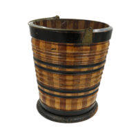 Garden Court Antiques, San Francisco -Dutch Mixed Wood Turned Peat Bucket; Netherlands, Circa 1850