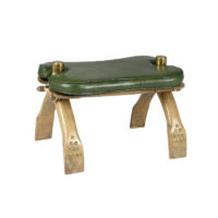 Garden Court Antiques, San Francisco - Brass Fitted Wood and Leather Camel Stool, Egyptian Circa 1910