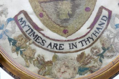 "Garden Court Antiques, San Francisco -""Arms of Aldridge"" Framed Stitchwork in Oval Giltwood Frame; English circa 1790"