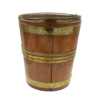Garden Court Antiques, San Francisco -A Georgian Fruitwood Brass Bound Peat Bucket; English circa 1800