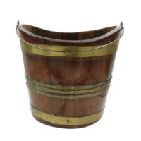 Garden Court Antiques, San Francisco -Oval Brass Bound Mahogany Peat Bucket with Brass Handle; English, Circa 1850