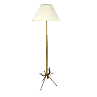 Garden Court Antiques, San Francisco - Midcentury Gilt Tole Floor Lamp; French, Circa 1950