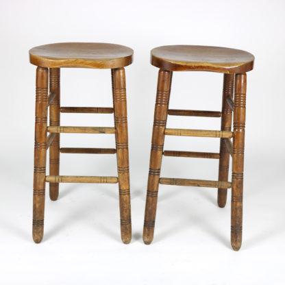 Garden Court Antiques, San Francisco - A Pair of Oak Pub Stools, English Circa 1880