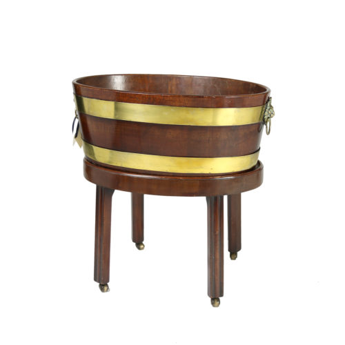 Garden Court Antiques, San Francisco - Regency Brass Bound Mahogany Wine Cooler on Stand, English Circa 1830