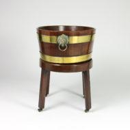 Garden Court Antiques, San Francisco - Regency Brass Bound Mahogany Wine Cooler on Stand, English Circa 1830