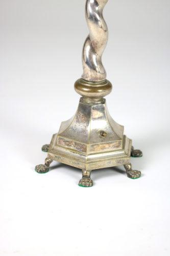 Garden Court Antiques, San Francisco - Elegant Silver-plate Barley Twist multi-footed table lamp, English circa 1900