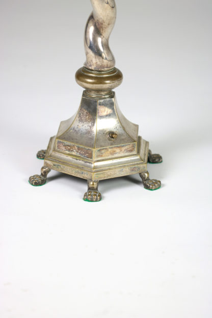 Garden Court Antiques, San Francisco - Elegant Silver-plate Barley Twist multi-footed table lamp, English circa 1900