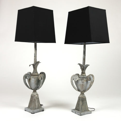 Pair Of 19th Century Zinc Architectural Elements, French Circa 1880, Mounted As Table Lamps With Custom Shades Garden Court Antiques, San Francisco